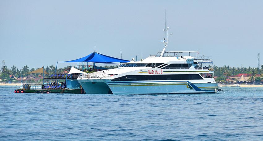 クルーズ船でレンボンガン島沖の浮島へ行き浮島にてマリンアクティビティを楽しみます