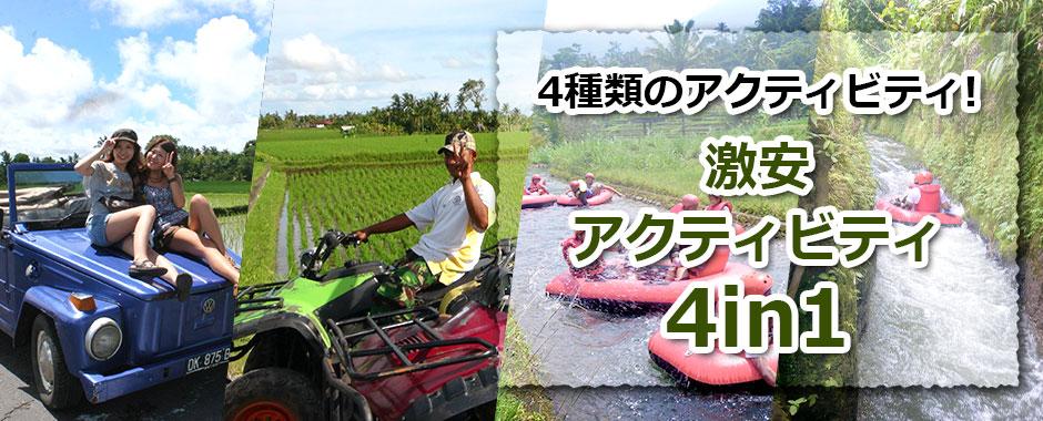 トキメキバリ島観光 厳選アクティビティ 激安アクティビティ4in1
