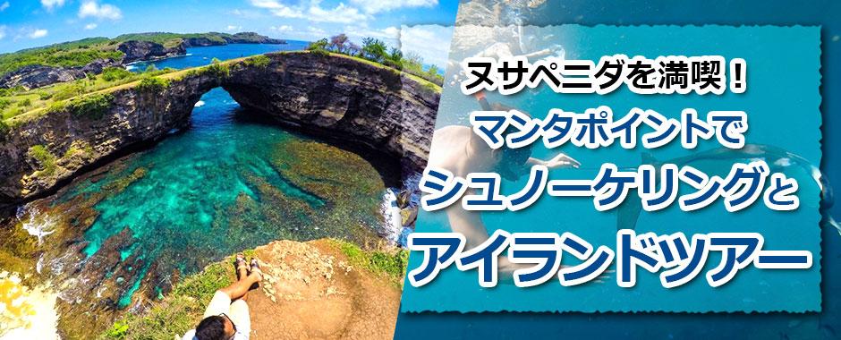 トキメキバリ島観光 厳選レンボンガン島 マンタポイントでシュノーケリングとヌサペニダアイランドツアー