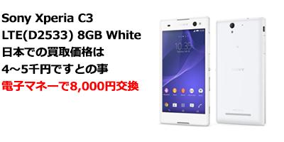 至福のバリ島観光 Sony Xperia C3 LTE(D2533) 8GB White