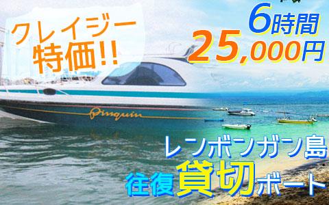 至福のバリ島観光 厳選マリンスポーツ レンボンガン島往復貸切ボート