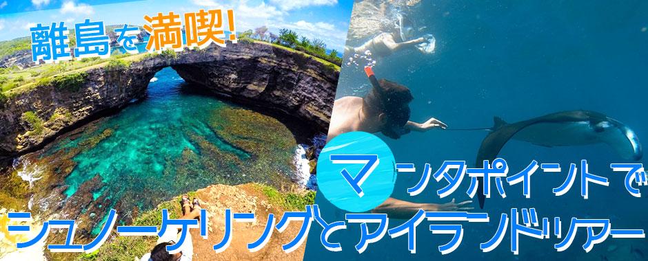 至福のバリ島観光 厳選レンボンガン島 マンタポイントでシュノーケリングとヌサペニダアイランドツアー