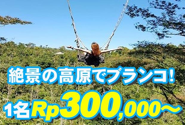 バリ島 観光人気避暑地のブドゥグルで絶景ブランコ!バリ スウィング2