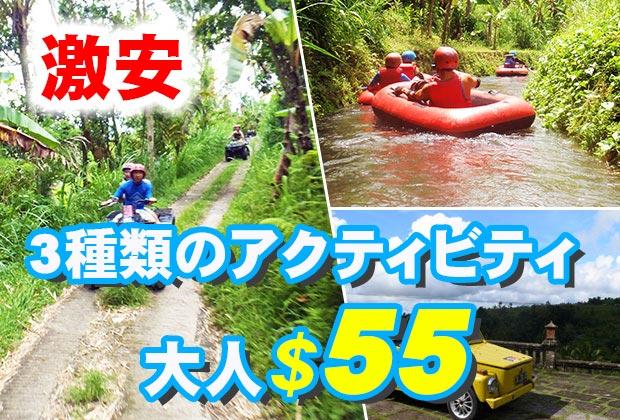 バリ島 観光大自然の中で3つのアクティビティ満喫!激安アクティビティ3in1